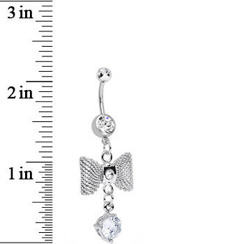 Clear Gem Going to a Formal Silver Bow Tie Dangle Belly Ring