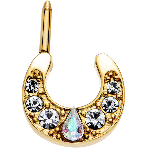 14 Gauge Gold Plated Clear Teardrop Aurora Gem Septum Clicker