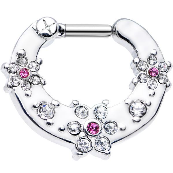 14 Gauge Clear and Pink Gem Flowers Septum Clicker