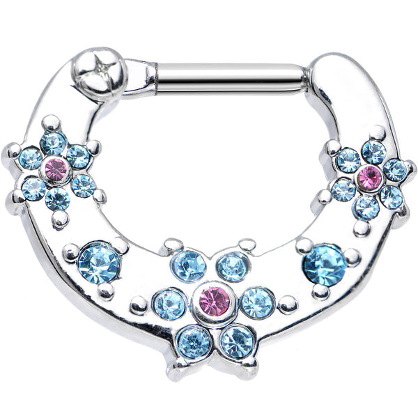14 Gauge 5/16 Aqua and Pink Gem Flowers Septum Clicker