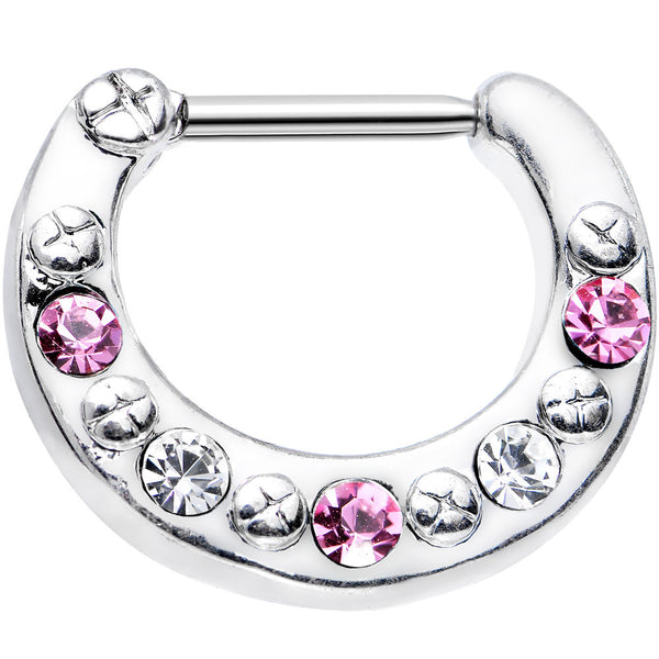 "16 Gauge 5/16"" Pink and Clear Gem Septum Clicker"