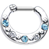 "14 Gauge 3/8"" Blue and Clear Gem Septum Clicker"