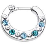 16 Gauge 1/4 Blue and Aqua Gem Septum Clicker