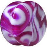 Acrylic Purple and White Marbled Saddle Plug 6 Gauge to 1 Inch