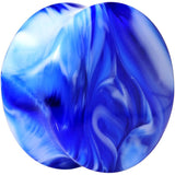 Acrylic Blue and White Marbled Saddle Plug 6 Gauge to 1 Inch