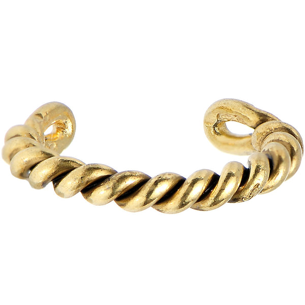 925 Silver Gold Plated Coiled Ring Ear Cuff