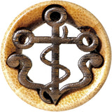 "1"" Organic Wood Nautical Anchor Double Flare Tunnel Plug"