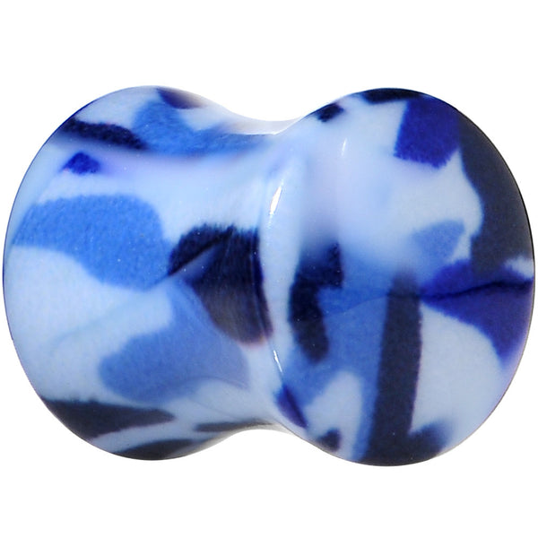 0 Gauge Blue Acrylic Take Cover Camouflage Double Flare Saddle Plug