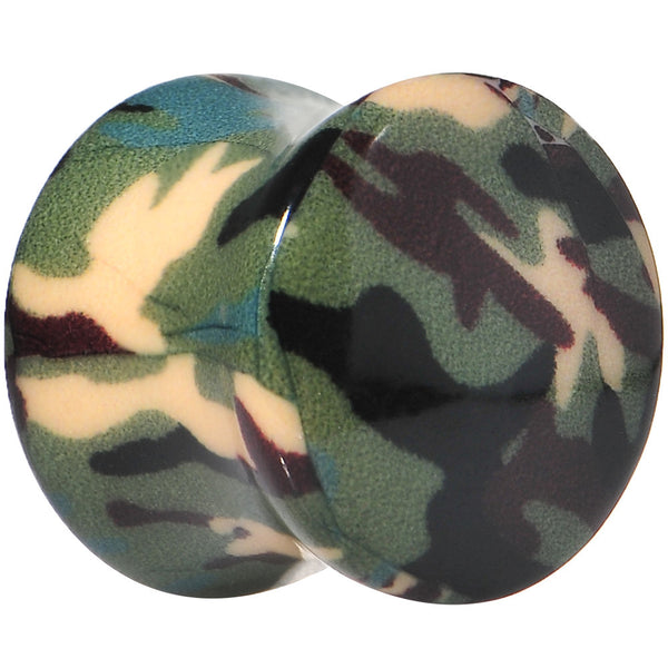 "1/2"" Green Tan Acrylic Cover Me Camouflage Double Flare Saddle Plug"
