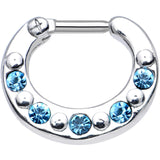 "14 Gauge 5/16"" Blue and Aqua Gem Septum Clicker"