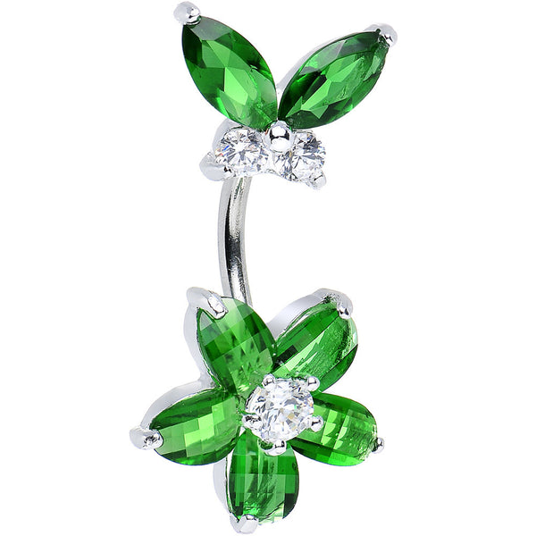 925 Sterling Silver Green Cubic Zirconia Floral Butterfly Belly Ring