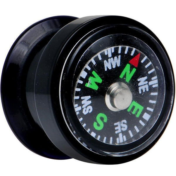 Acrylic Black Find Your Direction Compass Screw Fit Plug 0 Gauge to 1""