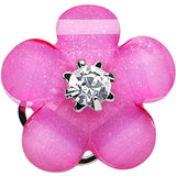 0 Gauge Clear Gem Pink Acrylic Spring Flower Single Flare Steel Plug