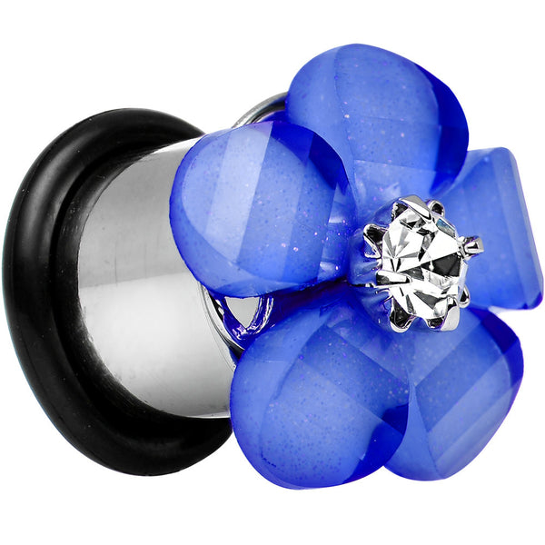 00 Gauge Clear Gem Blue Acrylic Spring Flower Single Flare Steel Plug