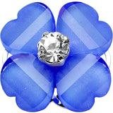 "1/2"" Clear Gem Blue Acrylic Spring Flower Single Flare Steel Plug"