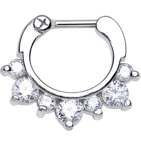 "16 Gauge 1/4"" Seven Clear Cubic Zirconia Septum Clicker"