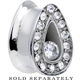 "1/2"" Clear Cubic Zirconia Stainless Steel Radiant Teardrop Tunnel"