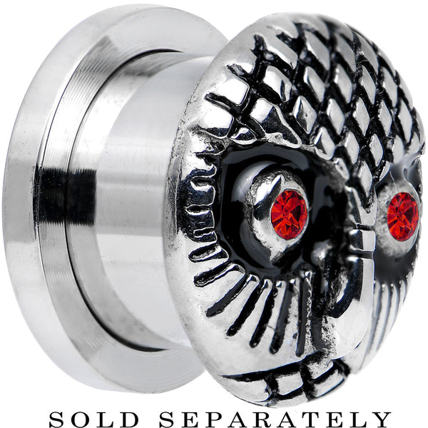 "1/2"" Red Gem Eyes Stainless Steel Thoughtful Owl Screw Fit Plug"