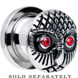 00 Gauge Red Gem Eyes Stainless Steel Thoughtful Owl Screw Fit Plug