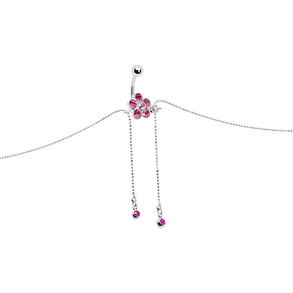 Passion Pink JEWELED FLOWER Dangle BELLY CHAIN