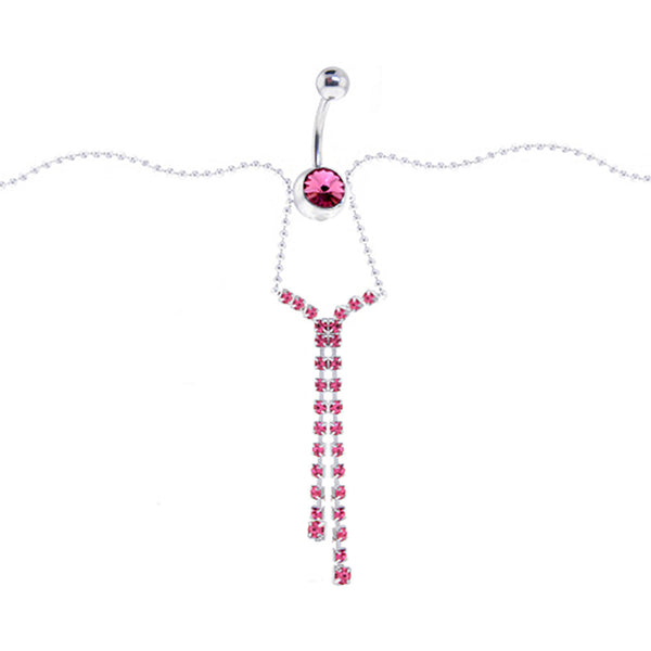 Austrian Crystal Passion Pink JEWELED CHANDELIER Belly Chain