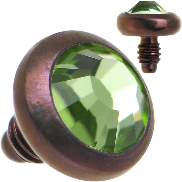 14 Gauge 3mm Peridot Green Gem Bronze Anodized Titanium Dermal Top