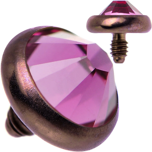 14 Gauge 4mm Pink Gem Bronze Anodized Titanium Dermal Top