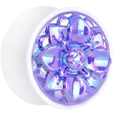 White Acrylic Pretty Purple Pearlescent Flower Saddle Plug Available in Sizes 0 Gauge to 25mm
