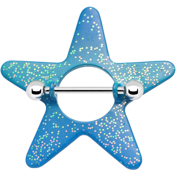 Glittery Blue Day at the Beach Star Nipple Shield