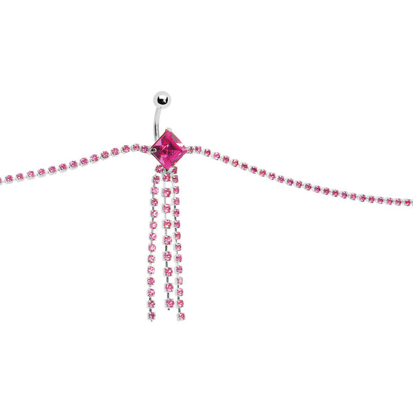 Austrian Crystal Passion Pink MONTE CARLO CHANDELIER Belly Chain