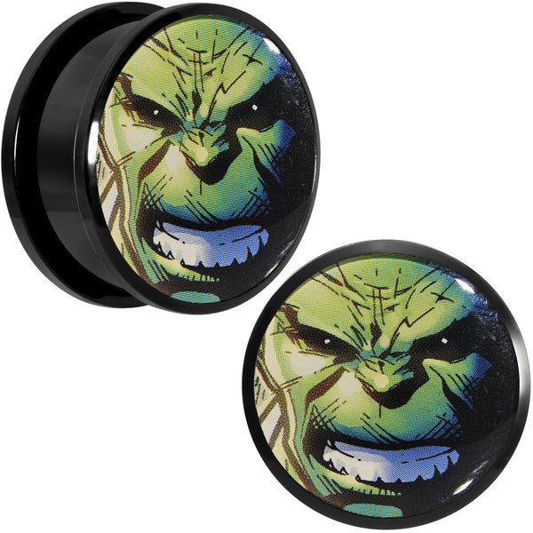 "1"" Licensed The Incredible Hulk Acrylic Screw Fit Plugs Set"