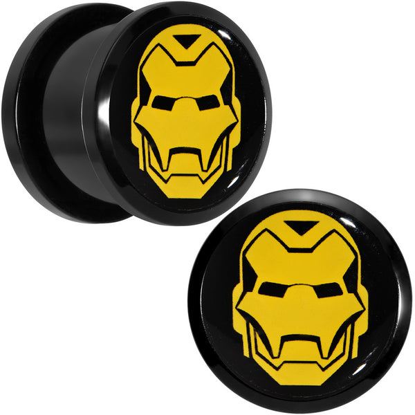 "9/16"" Licensed Iron Man Acrylic Screw Fit Plugs Set"