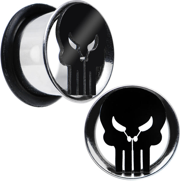 "1/2"" Licensed The Punisher Single Flare Steel Tunnel Plugs Set"