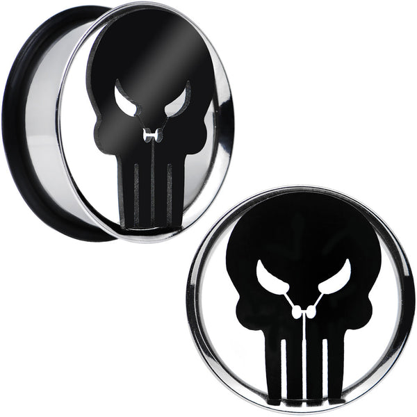 "1"" Licensed The Punisher Single Flare Steel Tunnel Plugs Set"