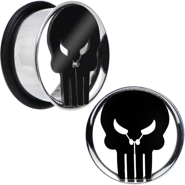 "3/4"" Licensed The Punisher Single Flare Steel Tunnel Plugs Set"
