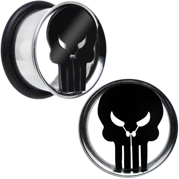 "5/8"" Licensed The Punisher Single Flare Steel Tunnel Plugs Set"