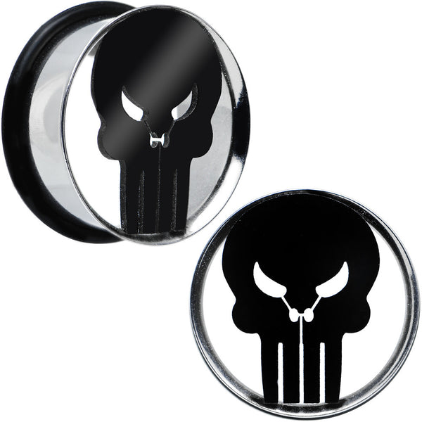 "7/8"" Licensed The Punisher Single Flare Steel Tunnel Plugs Set"