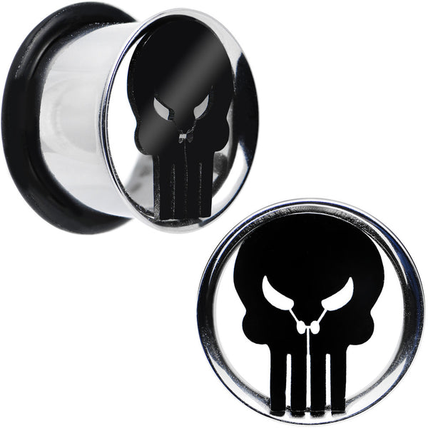"9/16"" Licensed The Punisher Single Flare Steel Tunnel Plugs Set"