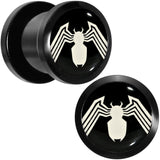 00 Gauge Licensed White Spider-Man Logo Black PVD Screw Fit Plugs Set
