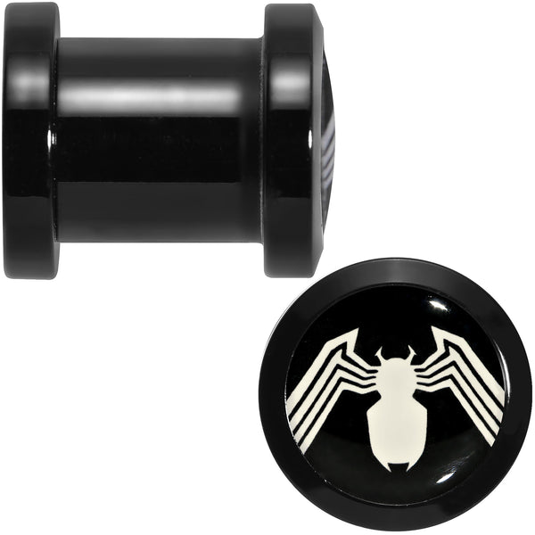 0 Gauge Licensed White Spider-Man Logo Black PVD Screw Fit Plugs Set