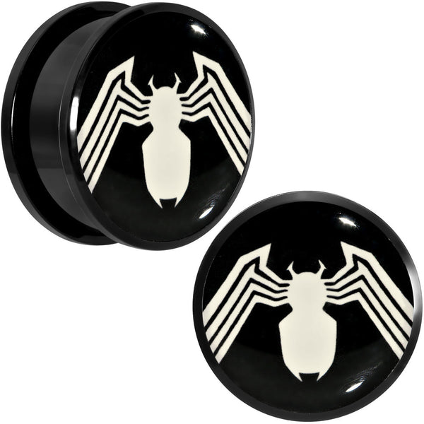 "1"" Licensed White Spider-Man Logo Black PVD Screw Fit Plugs Set"