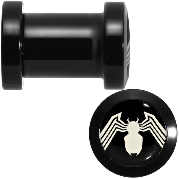 2 Gauge Licensed White Spider-Man Logo Black PVD Screw Fit Plugs Set