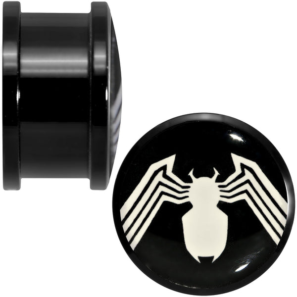 3/4 Licensed White Spider-Man Logo Black PVD Screw Fit Plugs Set