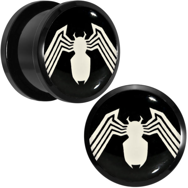 "5/8"" Licensed White Spider-Man Logo Black PVD Screw Fit Plugs Set"
