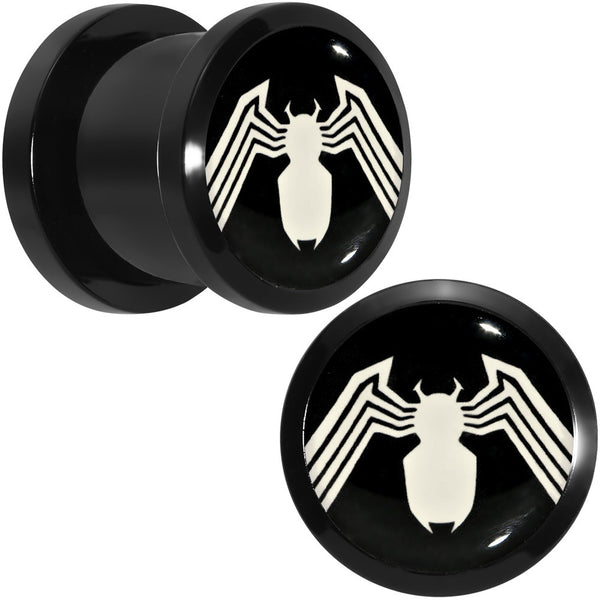 "7/16"" Licensed White Spider-Man Logo Black PVD Screw Fit Plugs Set"