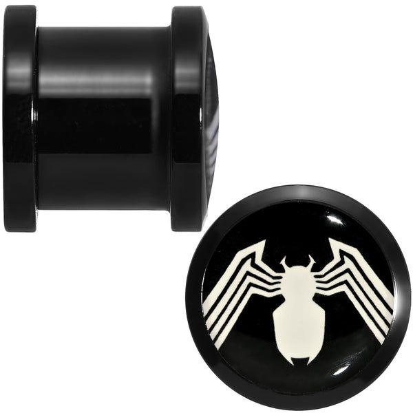 7/16 Licensed White Spider-Man Logo Black PVD Screw Fit Plugs Set