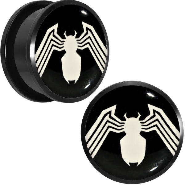 "7/8"" Licensed White Spider-Man Logo Black PVD Screw Fit Plugs Set"