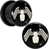 "9/16"" Licensed White Spider-Man Logo Black PVD Screw Fit Plugs Set"