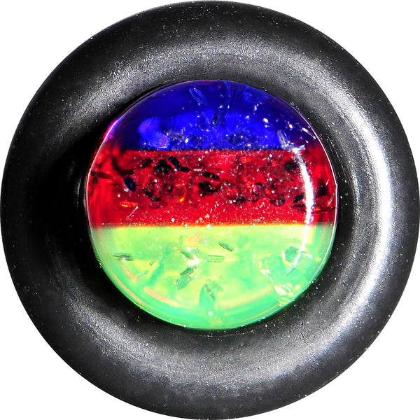 8 Gauge Green Red Blue Acrylic Vibrant Glitter Single Flare Plug