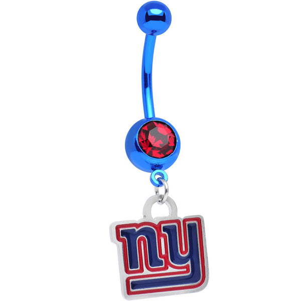Licensed NFL Red Gem Anodized Titanium NY Giants Dangle Belly Button Ring